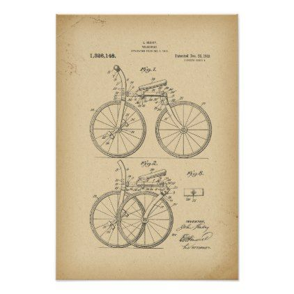 1919 Patent folding bicycle Poster - drawing sketch design graphic draw personalize