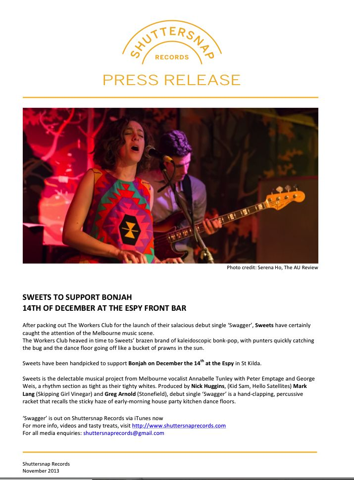Sweets Bonjah Support - Press Release