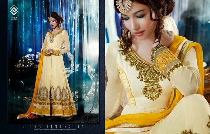 Very Beautifully Designed Georgette Floor length Yellow Anarkali With Superb thread Embroidery and Stone work en-crafted. Comes along with Santoon Bottom and inner and Chiffon Duppatta.
