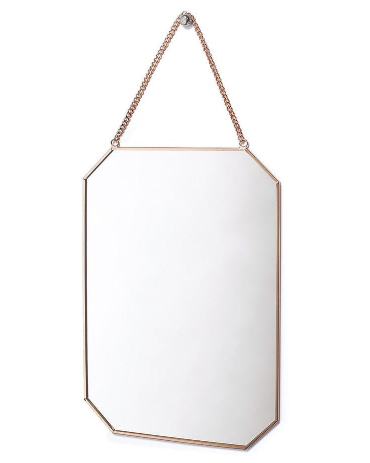 mirrordeco.com — Hanging Mirror on Chain - Rectangular Copper Frame H:30cm