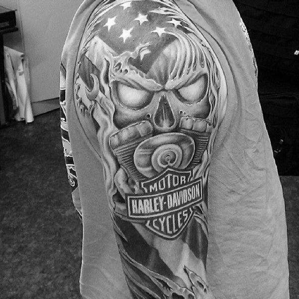Full Sleeve Guys Harley Davidson Tattoos Designs