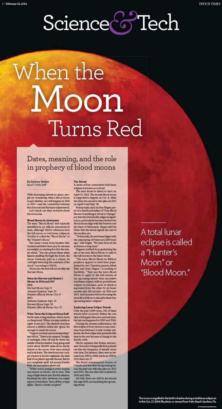 Blood Moon: Meaning and Role in Prophecy (+2014, 2015 Lunar Eclipses)|Epoch Times #newspaper #editorialdesign