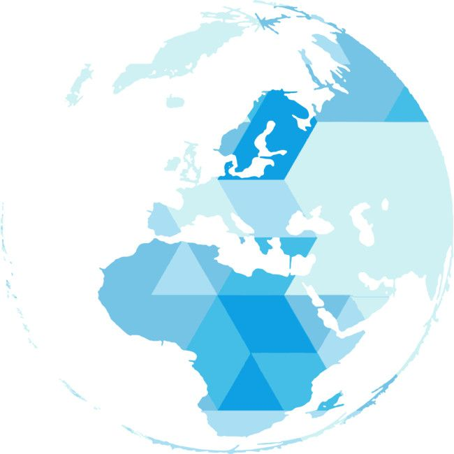 Shop Geometric world map blue triangle by happycolours available as a T Shirt, Tank Top, Crew Neck, Pullover, Zip, and Sticker.