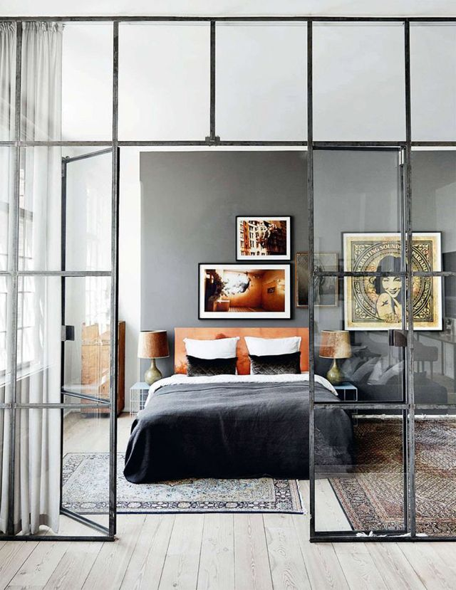 Bedroom, interior glass walls with sheer curtain and thicker curtain on separate rod. Love the interior glass walls!