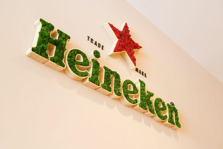 Valencia Moss Identity Heineken branding  #logotipo #verde #green #liquen #lichen #letrascorporeas #branding #heineken #red #rojo