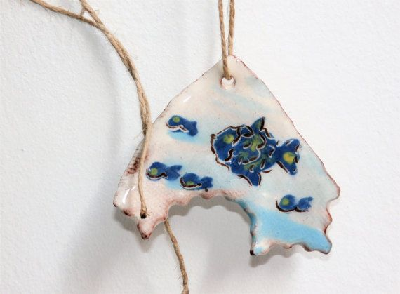 Fish pendant blue water rustic asymmetric par CeramicBeadsArt