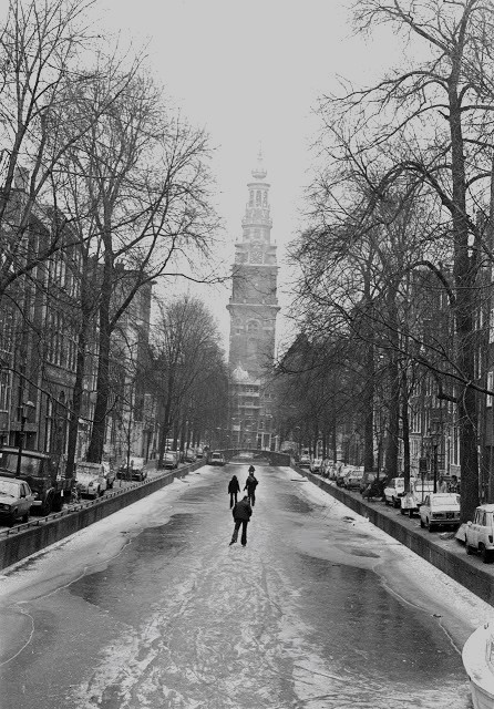 Ice skating on the canals in Amsterdam - 1976