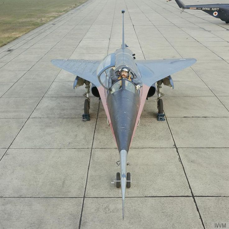 The BAC 221 (WG774) experimental supersonic aircraft nose on.