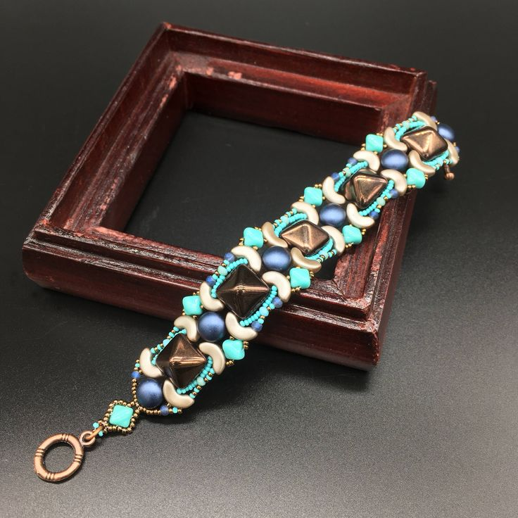 beaded bracelet, spikes bracelet, eastern style bracelet, rock style bracelet, blue bracelet, turquoise bracelet by Sjamgal on Etsy https://www.etsy.com/listing/541229953/beaded-bracelet-spikes-bracelet-eastern