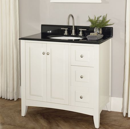 "Shaker Americana 36"" Vanity Drawer - right - Polar White - Fairmont Designs - Fairmont Designs"