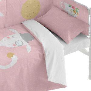 Funda nórdica y funda de almohada rosa claro y blanco Varias tallas disponibles