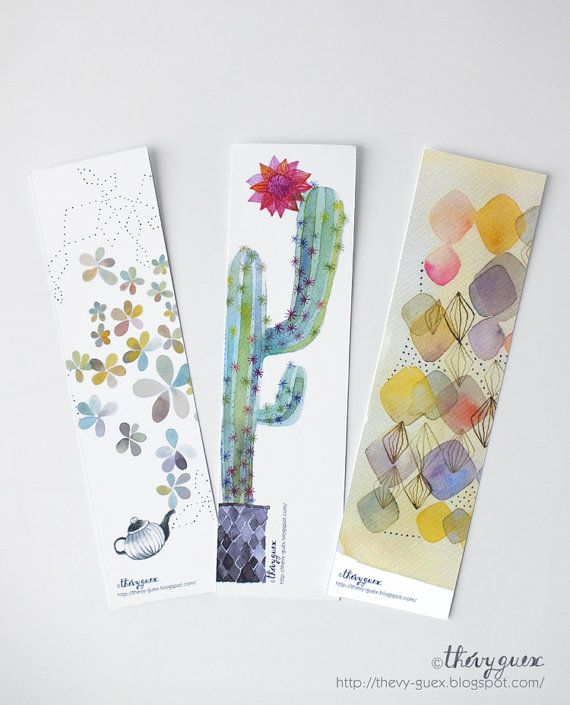 Set of 3 bookmarks printed from my original watercolor paintings featuring a blooming tea pot and cactus, and multicolor geometric design.  Size