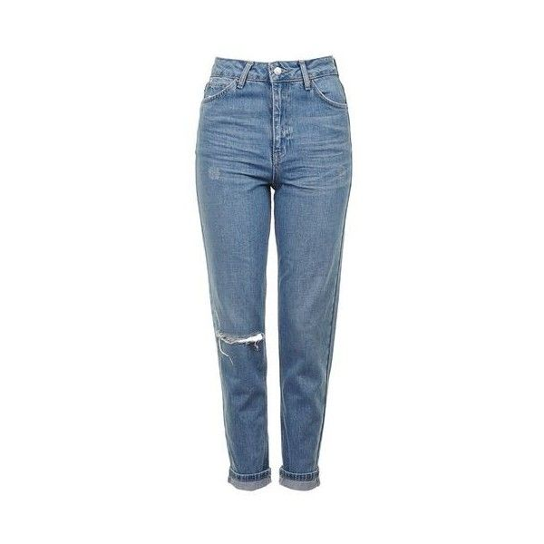TopShop Moto Blue Ripped Mom Jeans (1.445 UYU) ❤ liked on Polyvore featuring jeans, pants, bottoms, pantalones, mid blue, high rise jeans, topshop jeans, tapered leg jeans, ripped blue jeans and distressing jeans