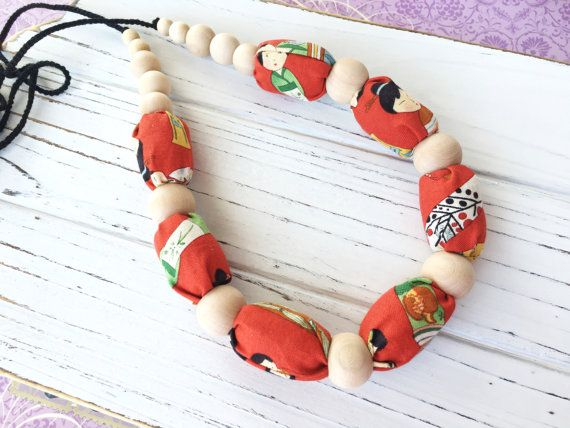 Kokeshi dolls  Fabric necklace Nursing necklace by ForeverValues