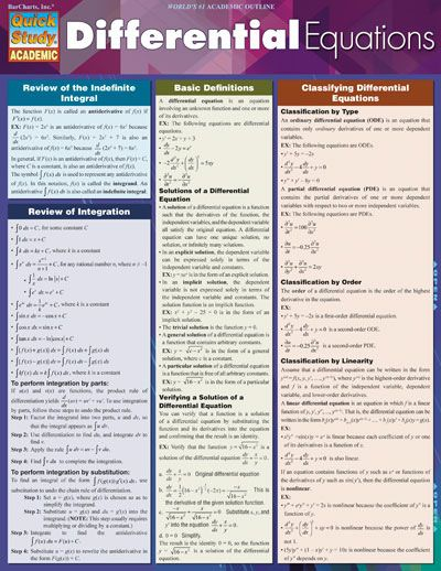 DIFFERENTIAL EQUATIONS $5.95 This handy reference to core concepts is designed to help students in courses that are a gateway to jobs in engineering and science. Students can find facts fast, maximize study time and increase test scores with our uniquely designed format that offers support for mathematics that are a building block in a highly competitive area. #Equations #Math #Study