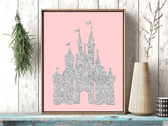 Pink and silver glitter castle girl nursery printable file