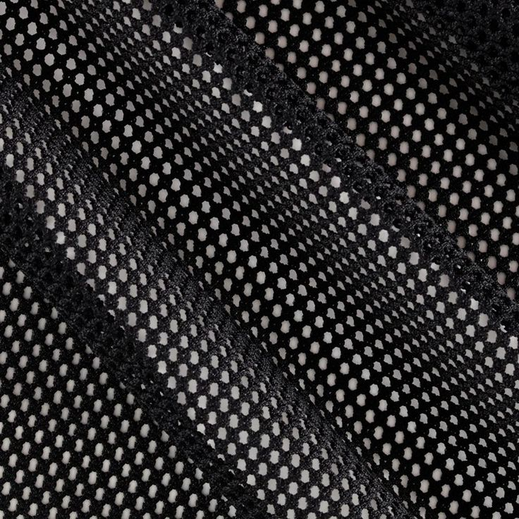 Mod Stretch Mesh Black from @fabricdotcom This mesh knit fabric features lofty fibers, open holes, and mechanical four way stretch- about 15%. It is perfect for creating mesh tops, tanks, activewear jerseys, laundry bags and more.