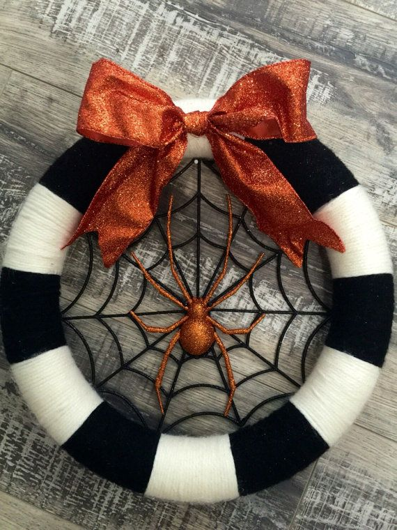 Halloween wreath spider wreath yarn halloween wreath black