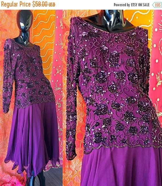 Vente robe Sequin robe en soie Vintage SAKS Fifth Avenue