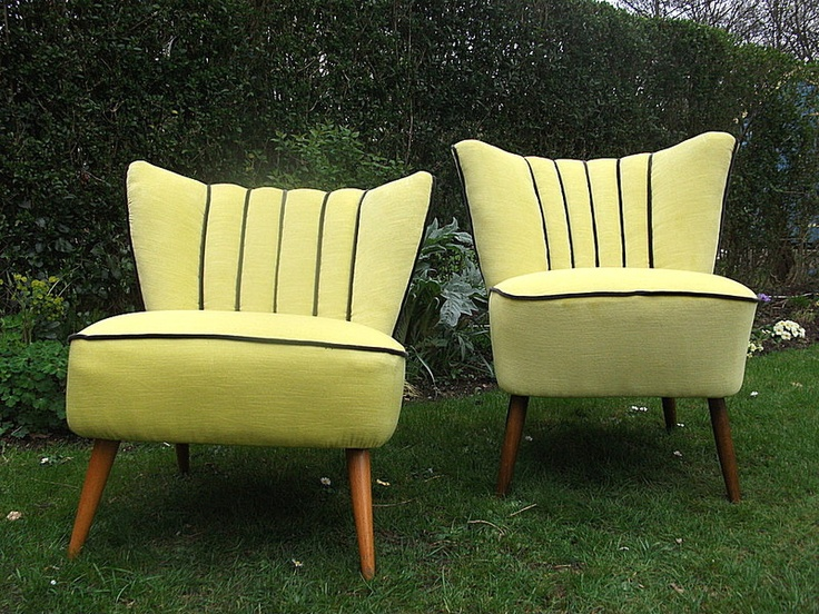 Home - Bonny Interiors. Beautiful 1950's Cocktail Chairs in yellow and grey piping.