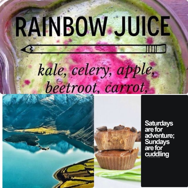 Rainbow juice, landscape, weekend quote, peanut butter cups 3 ingredients gf df