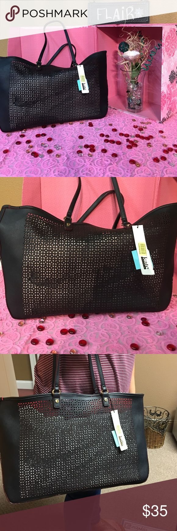 Kate Landry purse Black we've with gold hardware Kate Landry purse large type tote😃NWT! Cute,cute,cute Kate Landry Bags Shoulder Bags