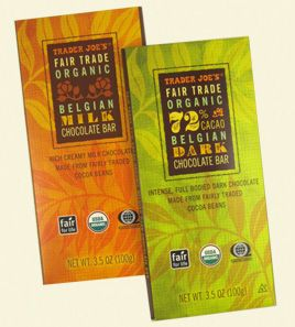 If I'm going to be a chocolate addict, may as well by Fair Trade! :) LOVE the Trader Joe's Organic chocolate bars.