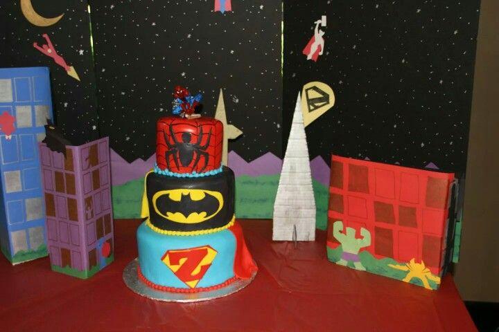 Superhero cake!  Batman cake Spiderman cake Supermancake
