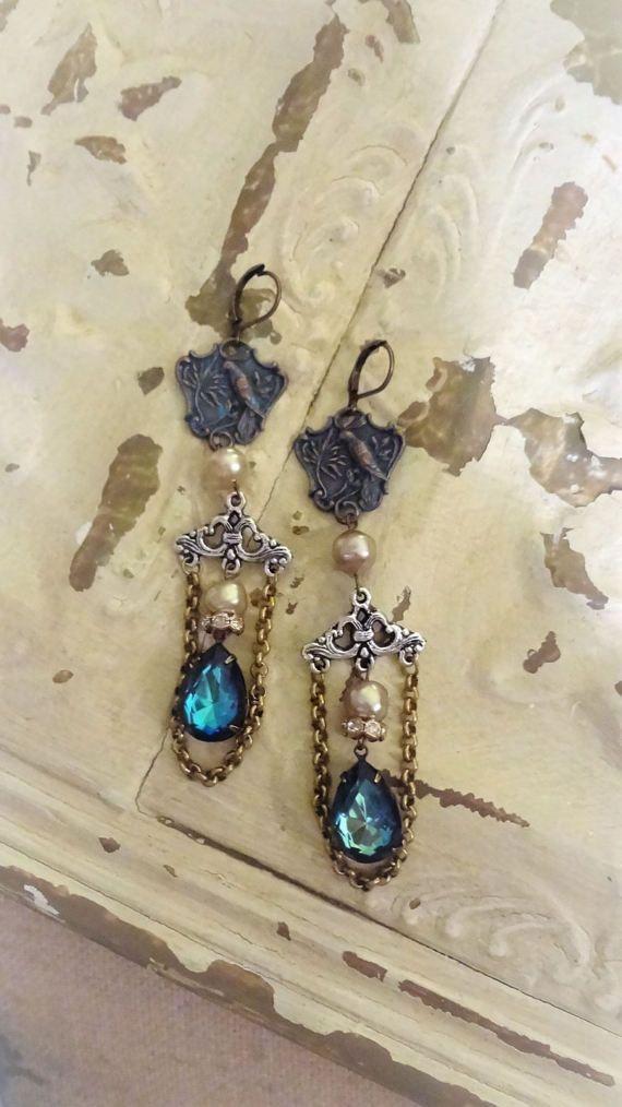 Vintage Assemblage Earrings Bird Earrings Bermuda Blue