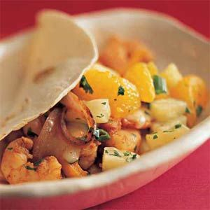 For a quick meal, prepare the salsa the night before and cut up all the vegetables at the same time.  Just a quick saute in a pan and you have a great meal.  One of our favorites!  Soft Shrimp Tacos with Tropical Salsa | MyRecipes.com