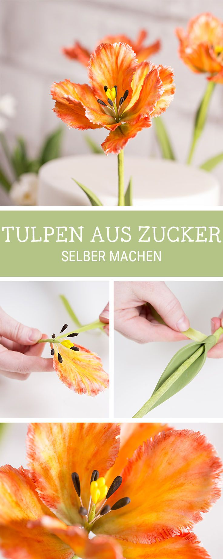 Essbare Blüten als Deko für Deine Torte: Tulpen aus Zucker selbermachen / decorate your cake with sugar tulips, edible flowers via DaWanda.com