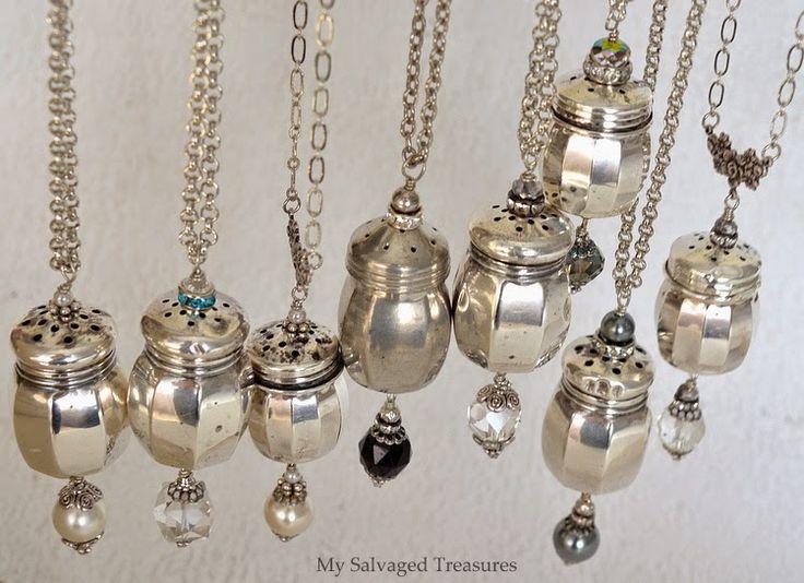 Repurposed Salt and Pepper Shaker Necklaces / MySalvagedTreasures.com