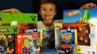 Смотреть онлайн видео Посылка с игрушками: Лего Майнкрафт 2015, Трасса Хот Вилс, Миньоны, Человек Паук