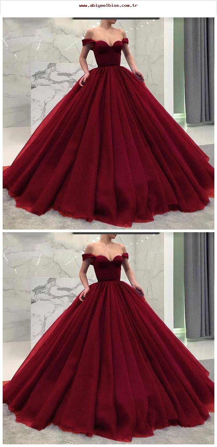 Modische Poofy Ballkleid Burgund Brautkleider aus der Schulter Abendkleid …