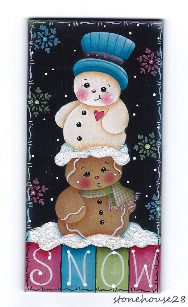 "HP GINGERBREAD & SNOWMAN ""Snow"" FRIDGE MAGNET #Handpainted"