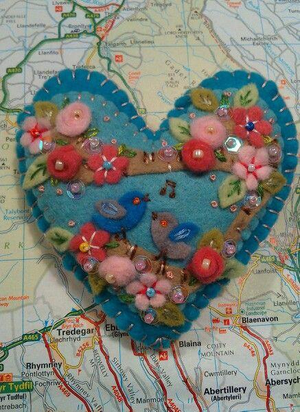 Blossom and birds handmade felt brooch, made for my mum for Mothering Sunday 2015