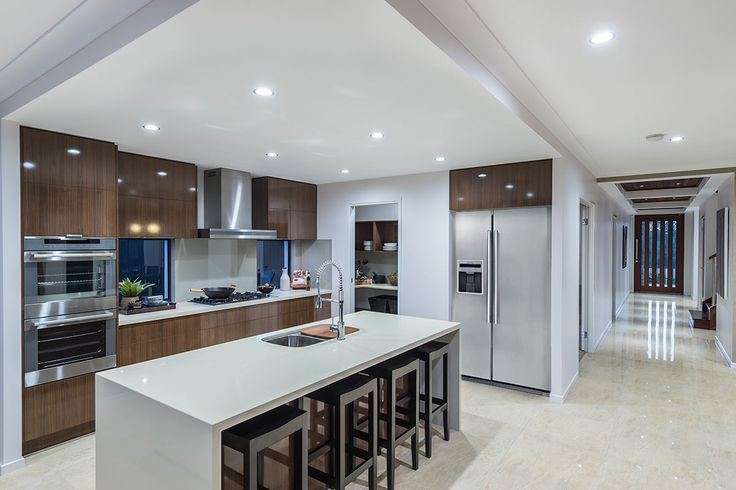 #Kitchen design ideas from #Ausbuild's Newbury #display #home. www.ausbuild.com.au. This #kitchen features a #stainless #steel #sink and #beautifully #tiled #flooring.