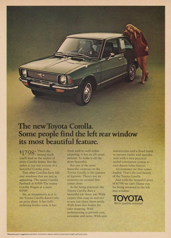 1970 Toyota Corolla Car Ad Small Green Automobile Photo Print Retro Advertisement Garage Wall Art Decor by AdVintageCom on Etsy