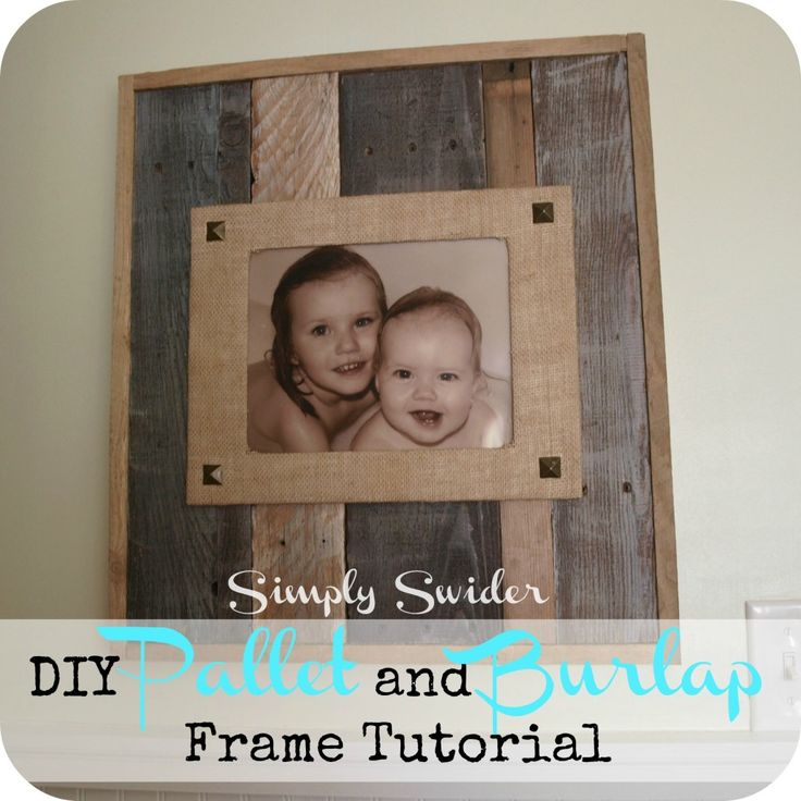 Pallet and Burlap picture frame ~ where do we get the picture of these kids?  :)  Hehe, that was just for my sister because she hates when I have a picture frame, but don't replace the stock photo with one of my own immediately.  I love the look of this!!