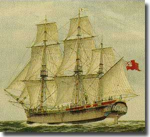 HMS Sirius, the main Naval ship with the First Fleet, under Captain John Hunter RN. Had been built in 1780 as Berwick for the East Indies run, badly burned in a fire, and rebuilt by Navy, renamed Sirius, finally wrecked off Norfolk Island on the 14th. of April 1790