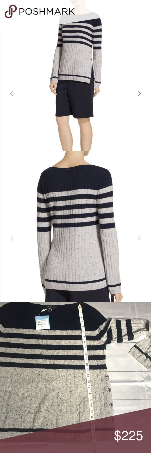 ST. JOHN  stripe Cashmere Sweater New with tag! ST.JOHN Cashmere Sweater  Informed by an elegant tonal stripe pattern, this St. John cashmere sweater is a versatile new-season essential. Comfort has never looked so chic.  Color: Navy Mica  A stylish yet comfortable piece that goes beyond basic 100% Cashmere Care: Professionally Clean Closure type: Button Bateau Neckline Long Sleeve Imported  #1203 St. John Sweaters Crew & Scoop Necks