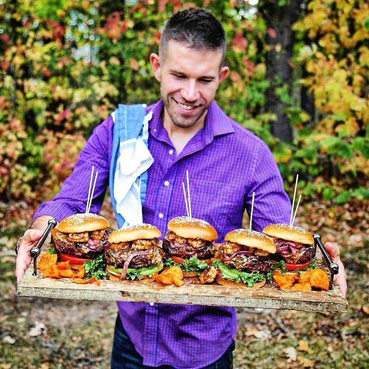 2018 goals. Eat burgers big as your head!!  . Throwing down a gourmet surf and turf burger feast!! These gargantuan fontina cheeseburgers are comprised of both land and sea. Beginning with a chef's blend of Australian free-range grass-fed ground chuck ground brisket and spicy chorizo. Encrusted upon white hot cast iron and prepared to mid-rare perfection over a raging inferno charcoal and smoky hardwoods. Rested atop a bed of heirloom tomatoes and fresh greens then garnished with a sauté of…