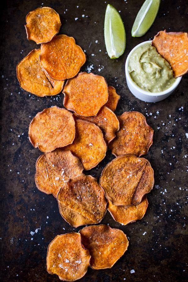 Crispy Baked Sweet Potato Chips with Avocado Lime Sriracha Dip
