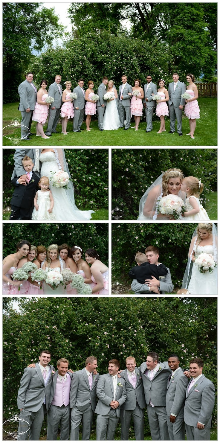 Kelowna Wedding Photography Eyes Of Le Stage Photography B.C. Pink, White, Grey, Groomsmen, Bridal Party, Peonies, Babies Breath, Bridal Party