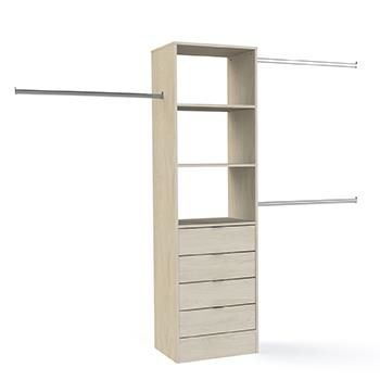 Tower Unit 600mm with 4 Drawers and hanger bars: Cape Elm
