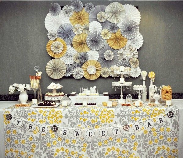 Cool!Dessert Tables, Sweets Bar, S'Mores Bar, Backdrops, Colors Schemes, Parties Ideas, Paper Rosette, Desserts Tables, Baby Shower
