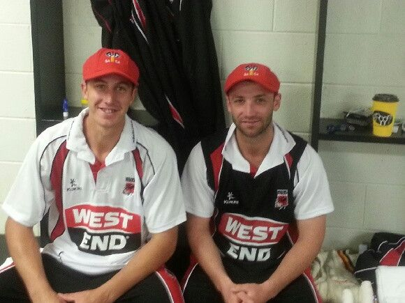 Here's our two debutants, Sam Miller and Phil Hughes, with their caps before play this morning #BupaSS