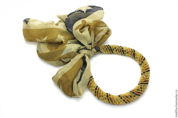 Купить Колье шарфик коричневый со звездами - платок, шарфик, колье, ожерелье, ободок, бант