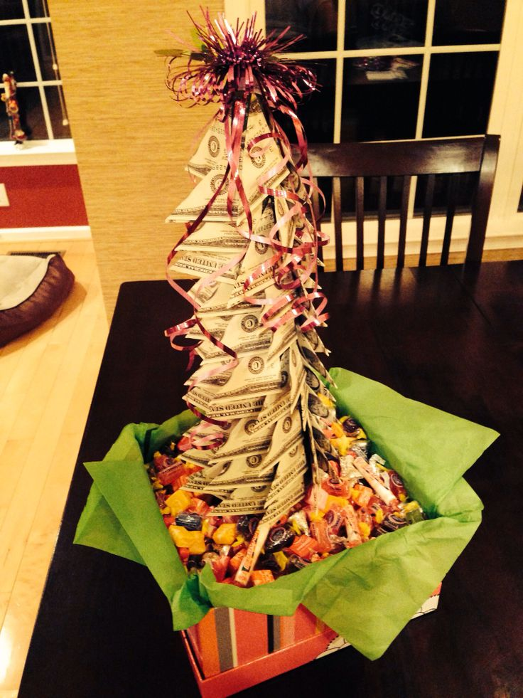Finished product: Money tree in a box of sweets for a sweet sixteen gift.