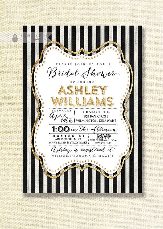 Gold Black & White Bridal Shower Invitation Gold Glitter Sparkly Striped Linen Shabby Chic Invite Printable Digital or Printed- Ashley Style...
